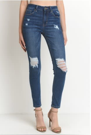 JUST USA DENIM HI RISE SKINNY W/DESTRUCTION