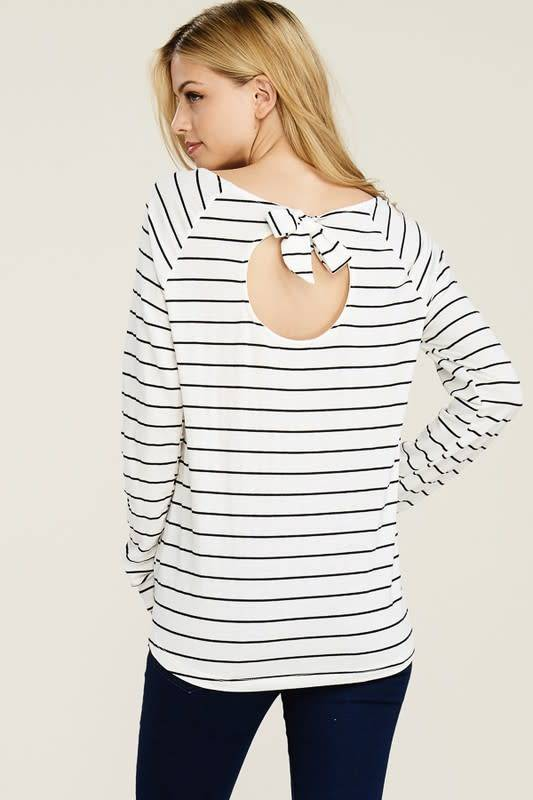 STRIPE TERRY CUTOUT TIE BCK TOP