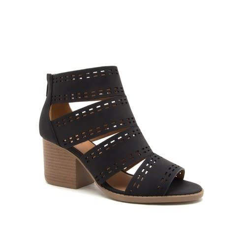 QUPID OPEN TOE STRAPPY BOOTIE