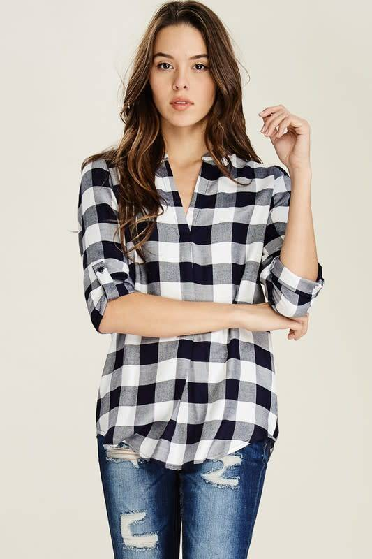 SPLIT NCK CHECKERED WOVN TOP