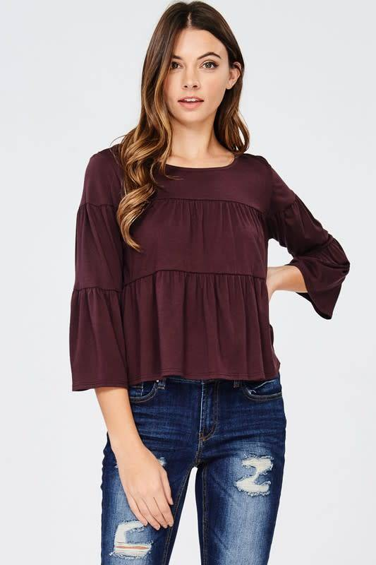 3/4 SLV TIERED KNIT TOP