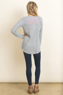 L/S WAFL KNIT TOP W/LACE INSERT