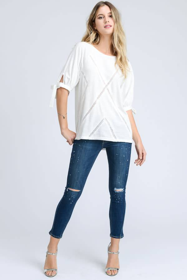 CRISS CROSS TRIM KNIT TOP