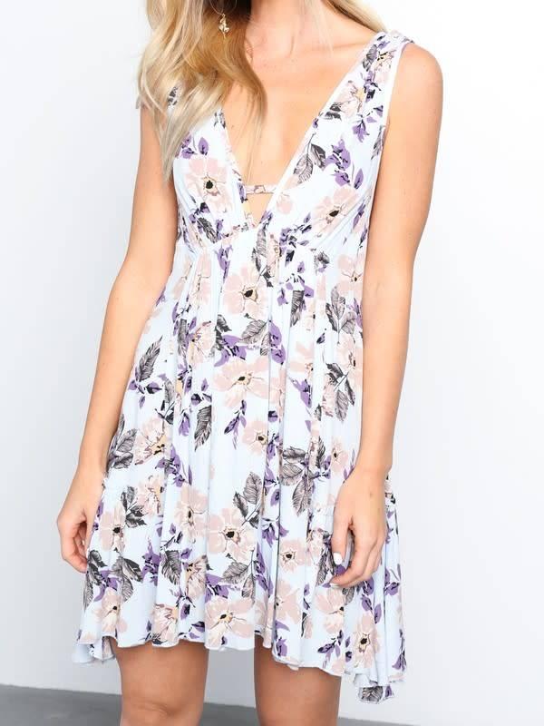 S/L SWINGY FLORAL PRT DRESS
