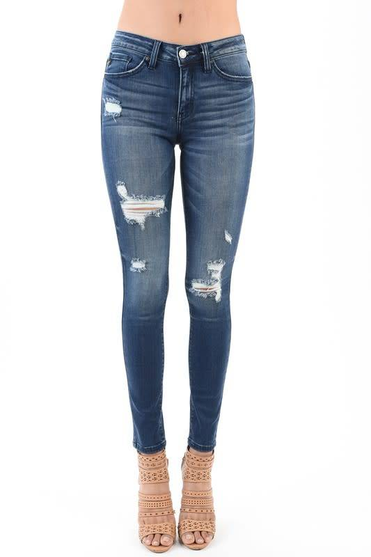 """KAN CAN DISTRESSED SKINNY 8.5 RISE 30"""""""