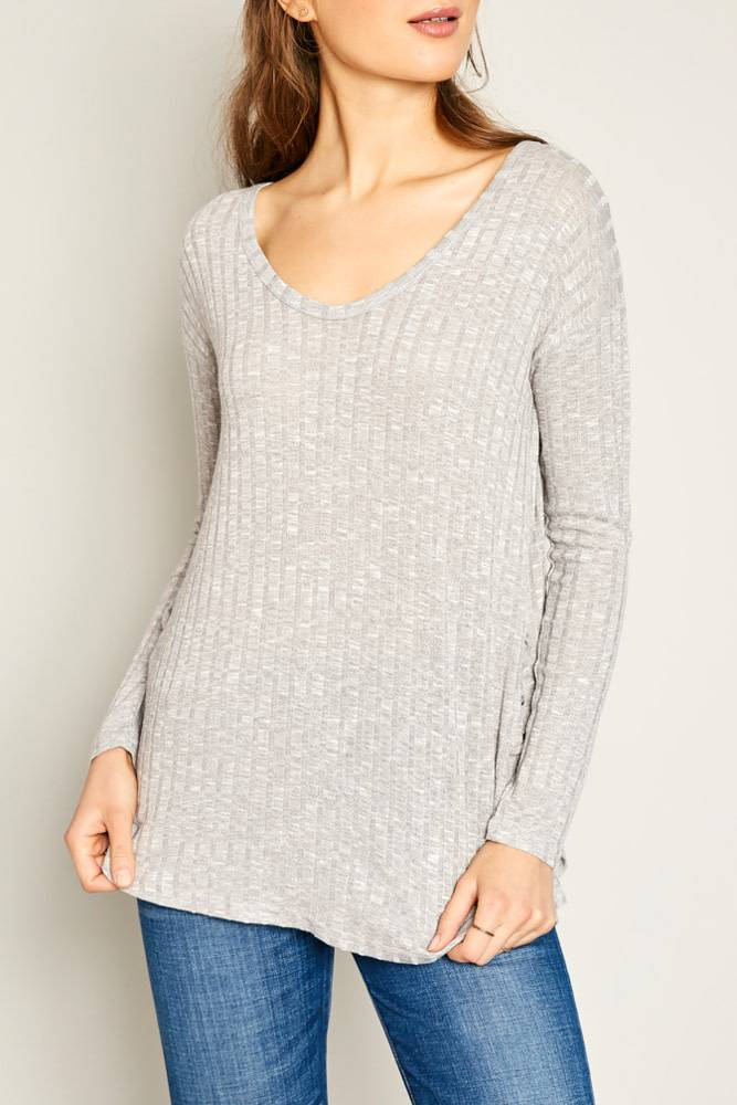 RIBBD VNCK TOP W/LACE UP DETAIL