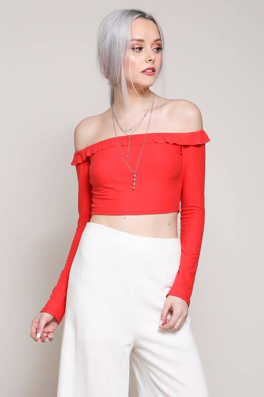 L/S RUFL DET OFF SHLDR CROP TOP