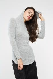 BRUSHED KNIT HOODIE TUNIC TOP