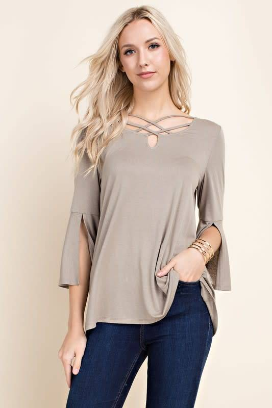 SPLIT SLV DBL CROSS FRT TOP