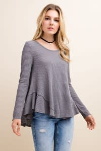 L/S THERMAL FLARE BTM KNIT TOP