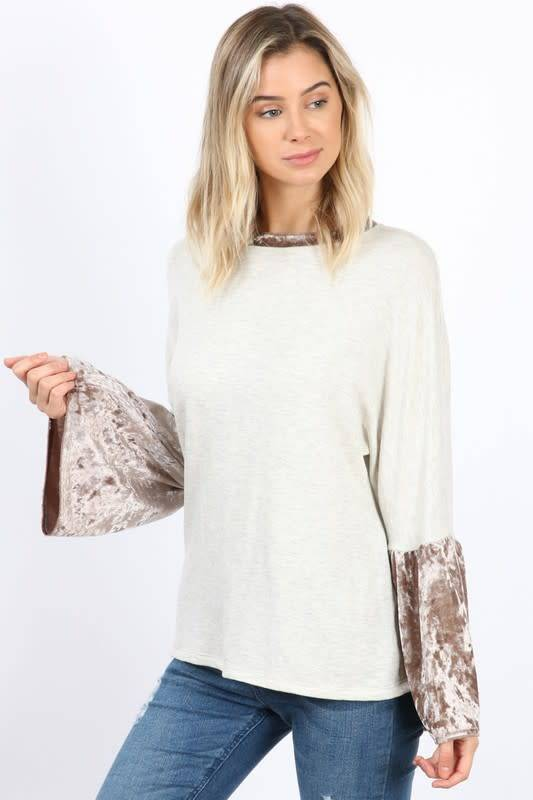 VELVET BELL SLV KNIT TOP