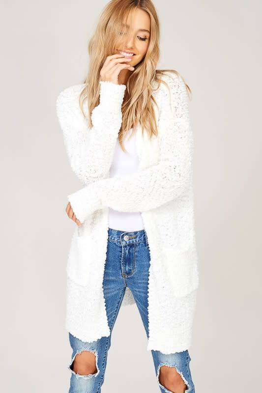 POPCORN KNIT OPEN CARDIGAN