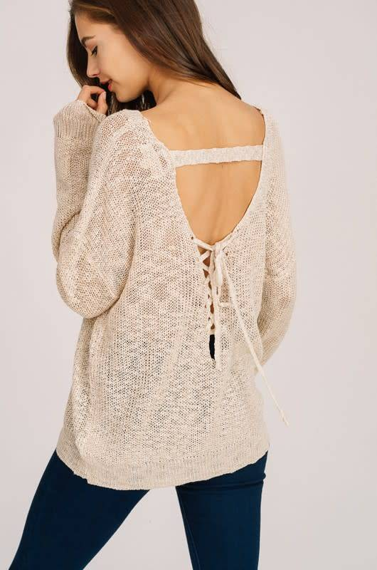 LACE UP OPEN BACK DETAIL SWEATE