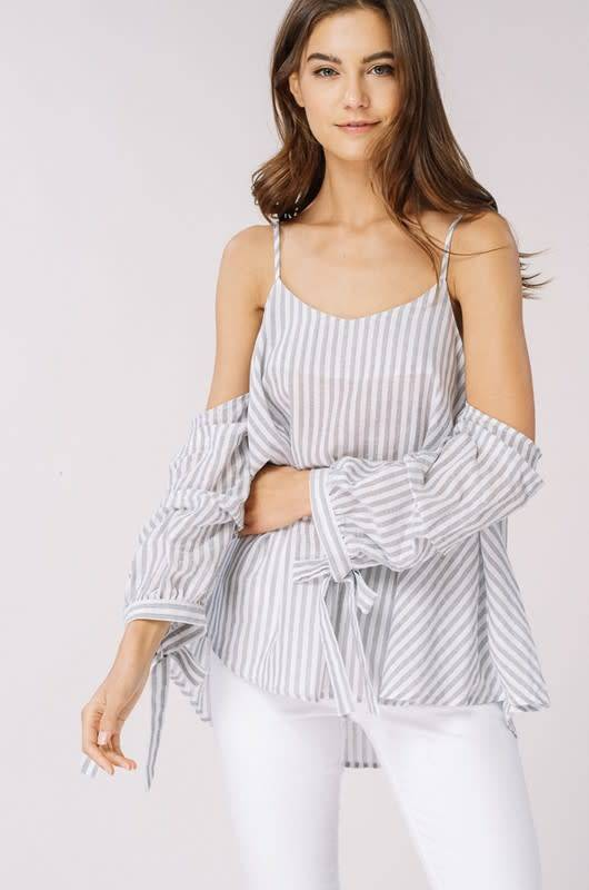 COLD SHLDR STRIPED WOVEN TOP