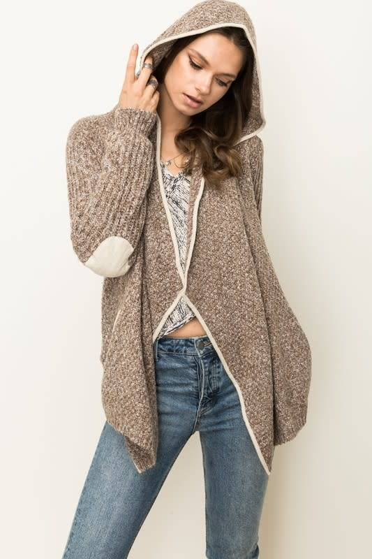 HOODED ELBW PATCH OPEN CARDI