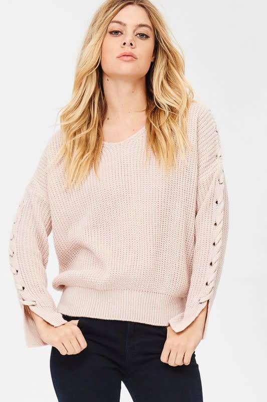 SWEATER W/LACE UP SLV DETAIL