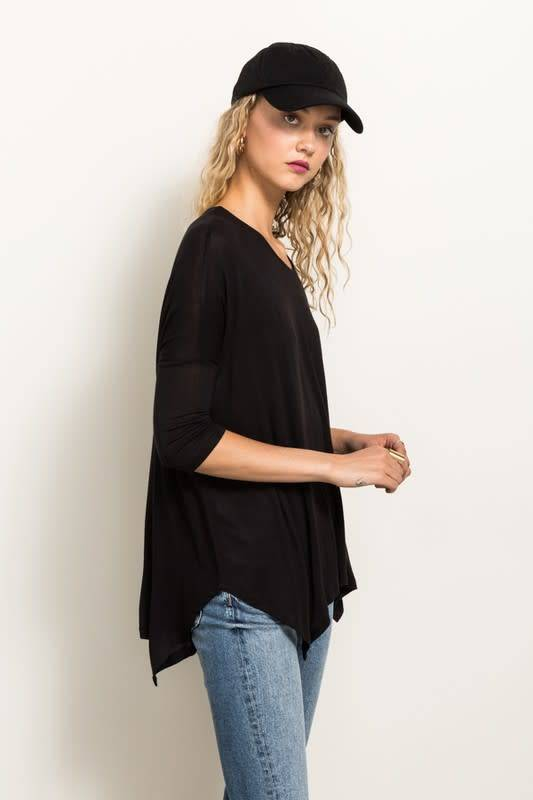 3/4 SLV LOOSE FIT BOAT NCK TOP