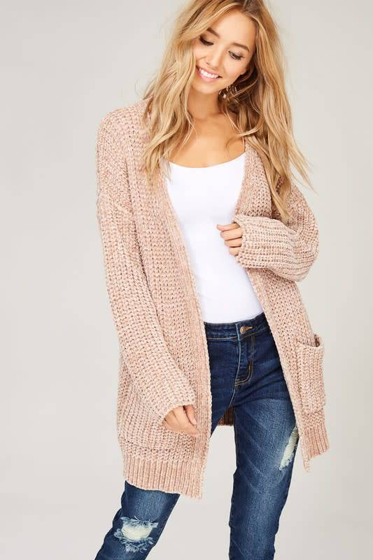 CHENILLE KNIT OPEN CARDIGAN
