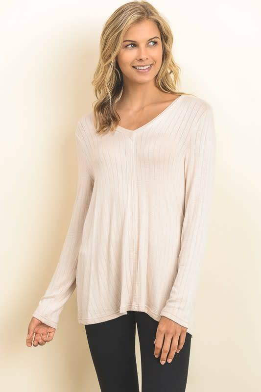 L/S KNIT TOP W/CRISSCROSS BACK