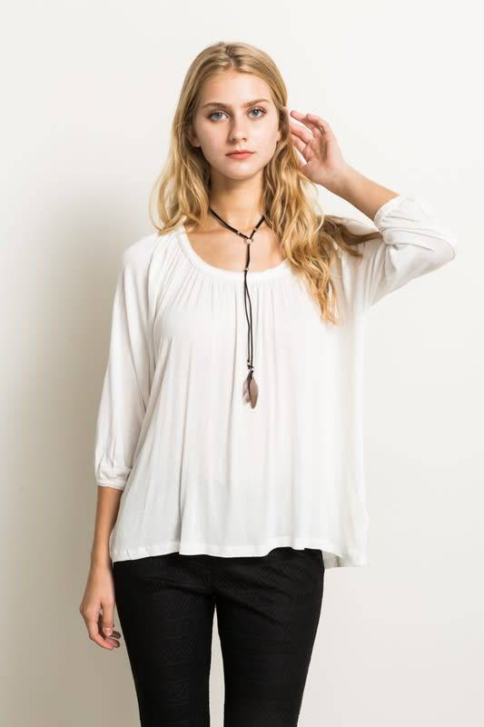 3/4 SLV HI LOW RELAX FIT TOP
