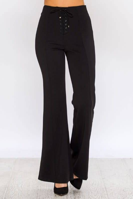 FLARE PANTS W/LACE UP DETAIL