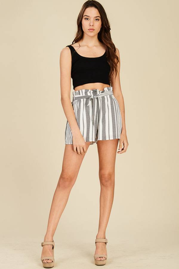 STRIPED BUCKET TIE WAIST SHORTS
