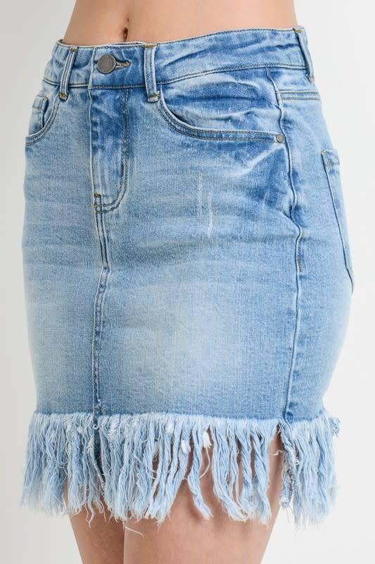 Denim Skirt w/Long Fringe