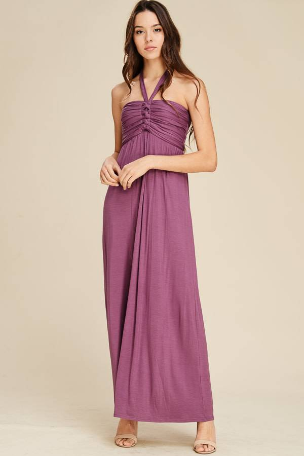 Cabled Bust Halter Maxi Dress