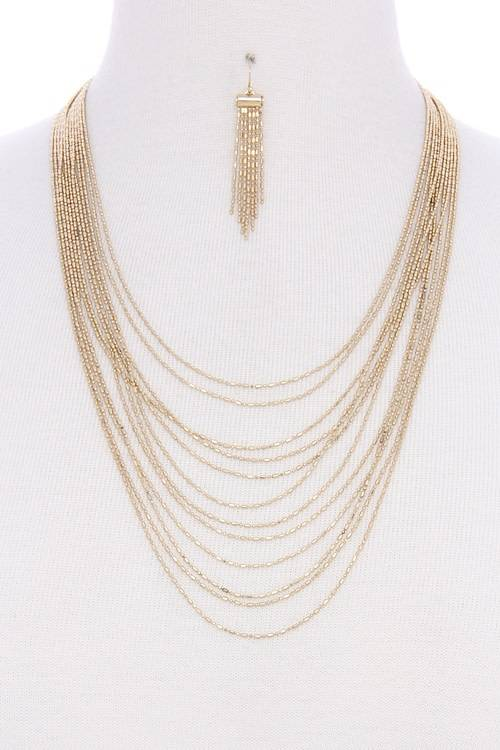 Multi Layered Necklace W/Earrings