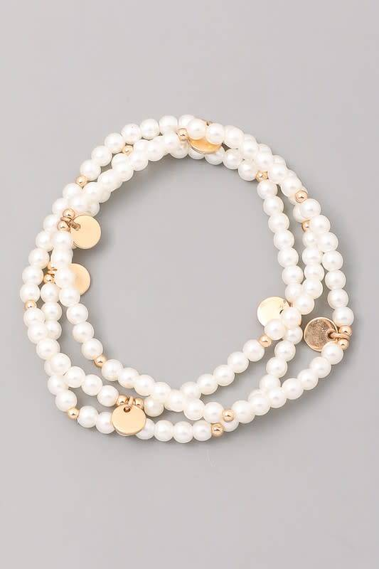 Set of 3 Beaded Pearl Bracelets