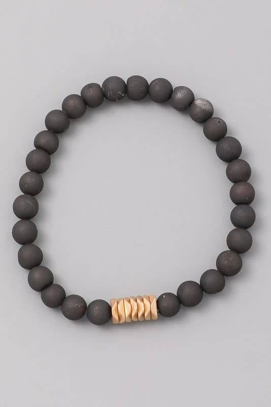 Beaded Bracelet W/Metal Detail