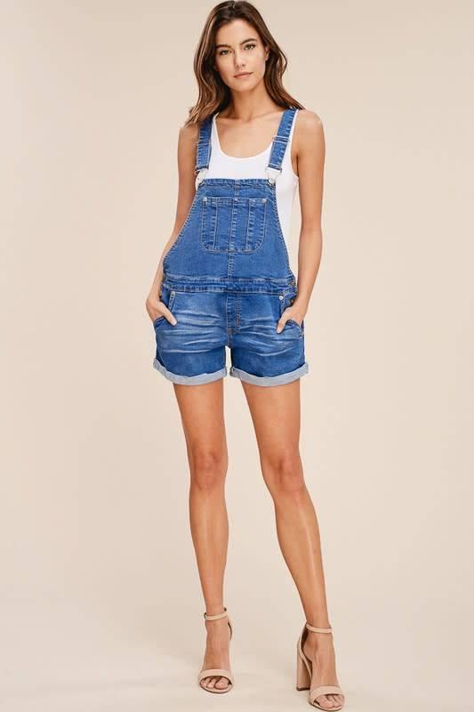Denim Overall Cuffed Shorts