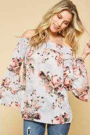Floral Off Shoulder Woven Top