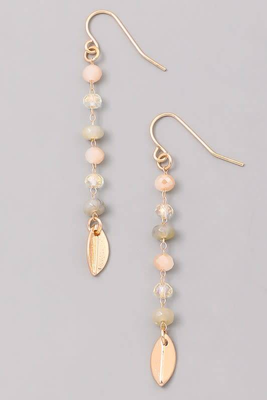 Beaded Dangle Earring w/Metal