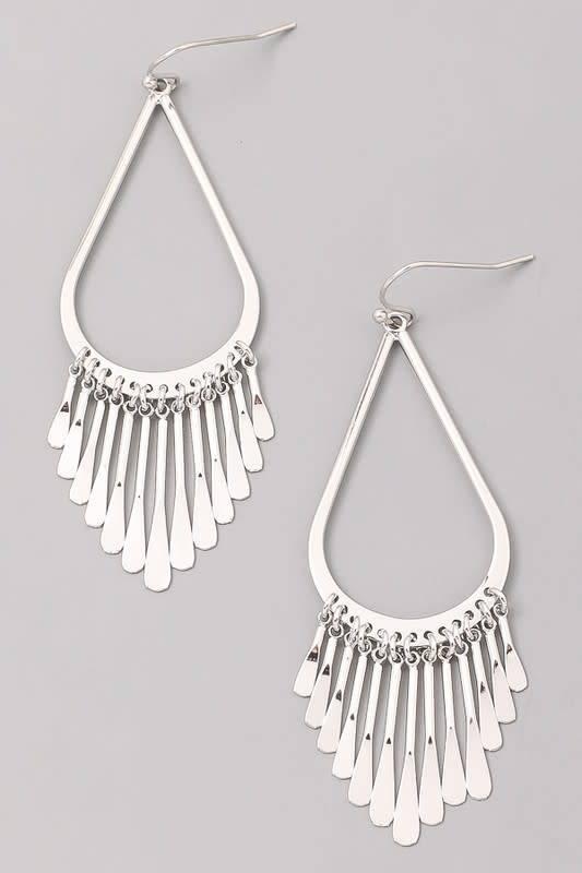 Hoop Earrings W/Metal Bars