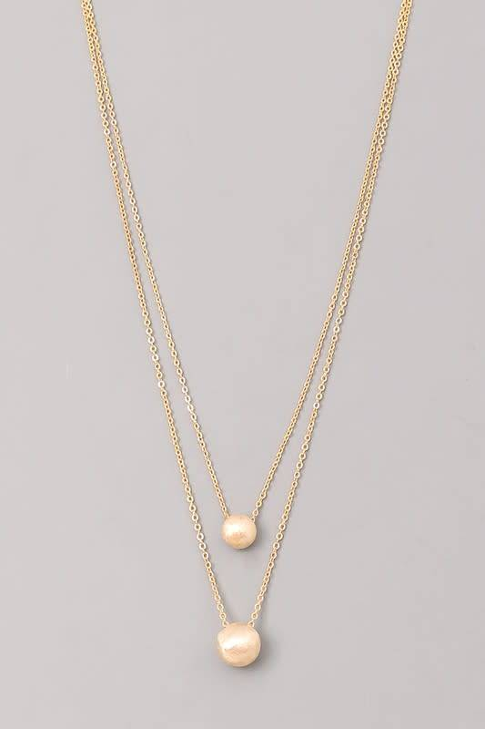 Layered Necklace W/Ball Pendant