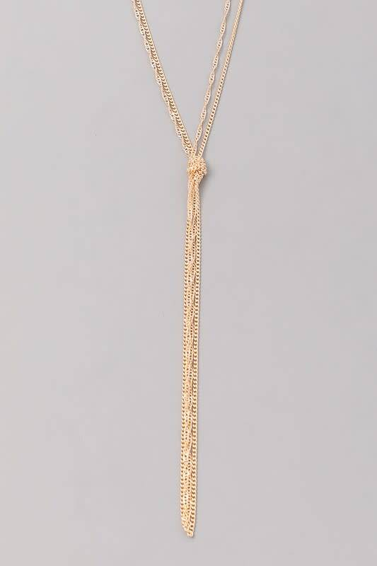 Knotted Multi Strand Long Necklace