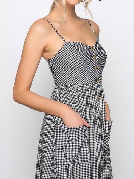 Gingham Button Frt Midi Dress