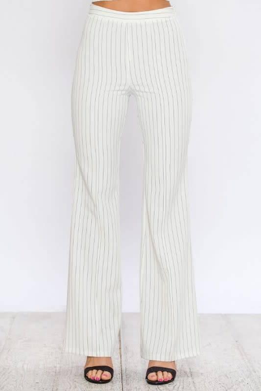 Flared Pinstripe Pants