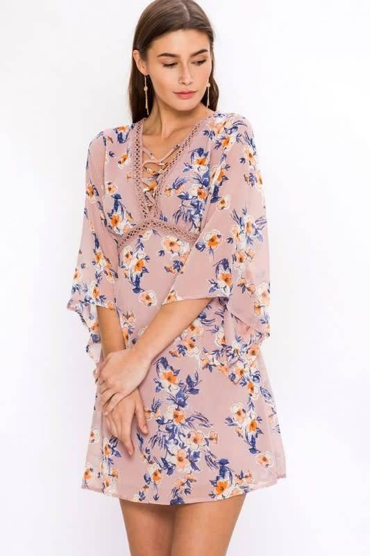Floral Peasant Dress W/Lace Detail