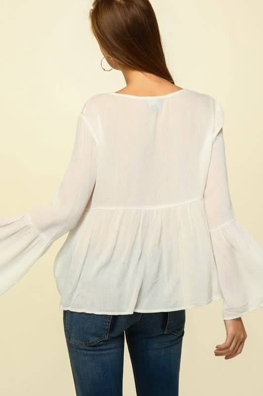 L/S Floral Embroidered Flowy Top