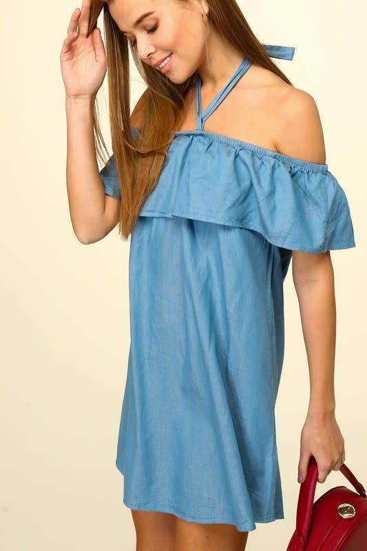Off Shoulder Flounce Halter Dress