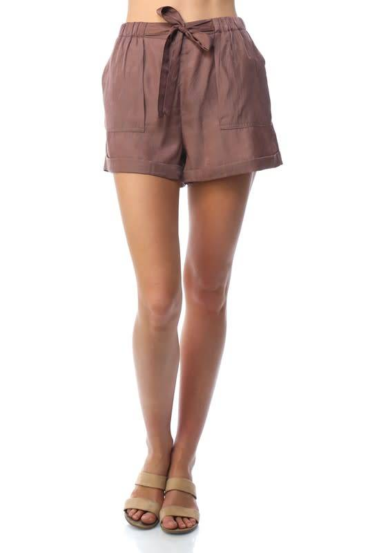 Tie Front Patch Pocket Shorts