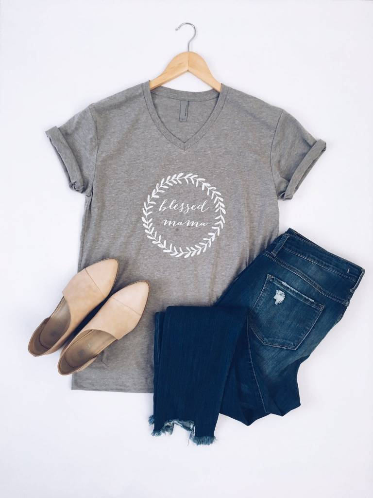 Blessed Mama Vneck Tee