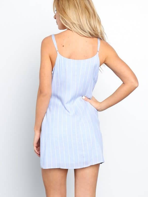 Wrapped Striped Mini Cami Dress