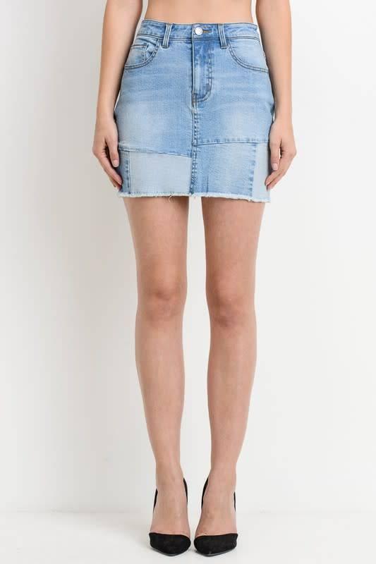 Patched Mini Skirt