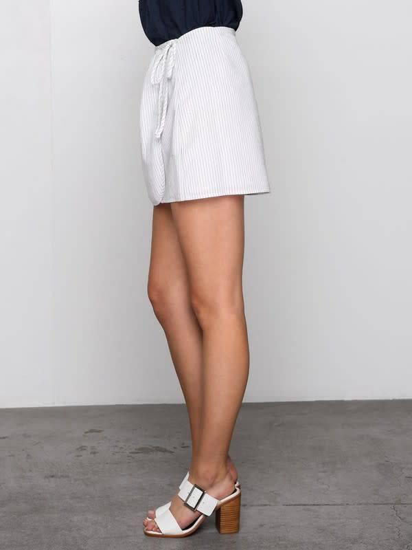 Stripe Wrap Skirt w/Side Tie