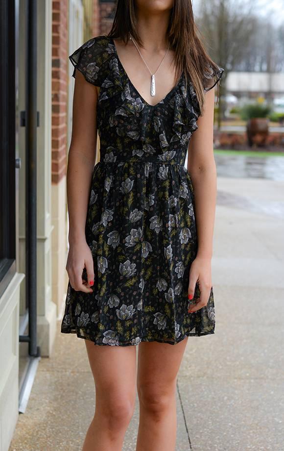 Print Chiffon Ruffle Mini Dress