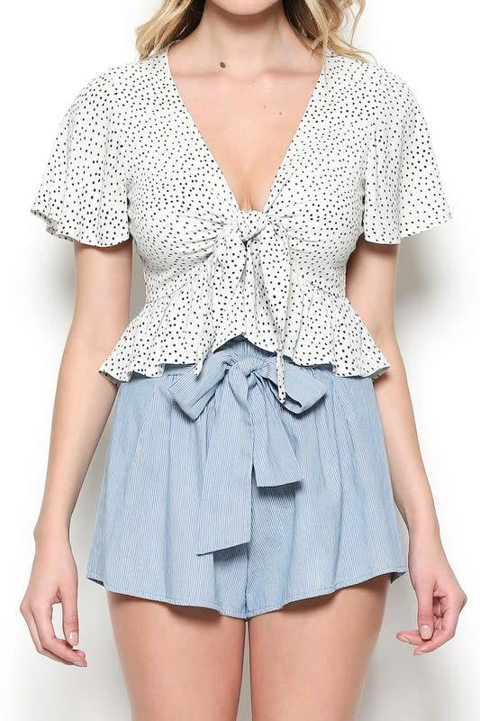 Striped High Waist Belted Flowy Shorts