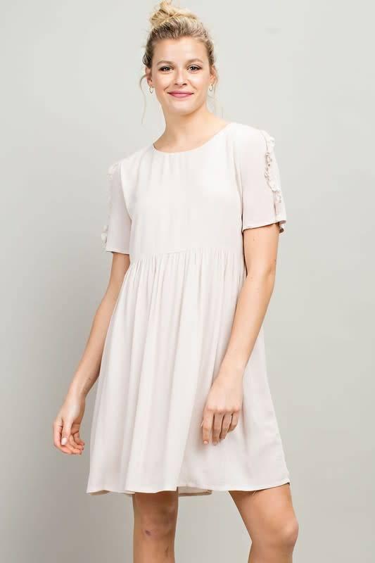 Ruffle Detail Solid Dress